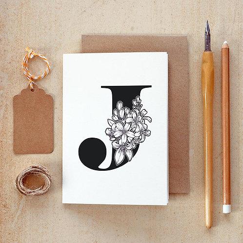 Salt x Paper | Greeting Card | The Alphabet Blossom Series | J
