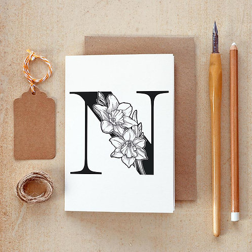 Salt x Paper | Greeting Card | The Alphabet Blossom Series | N