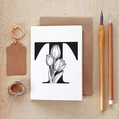 Salt x Paper | Greeting Card | The Alphabet Blossom Series | T