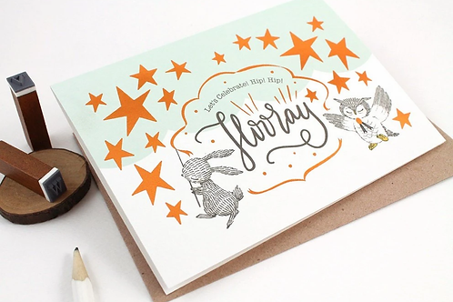 Whimsy Whimsical | Greeting Card | Let's Celebrate! Hip! Hip! Hooray