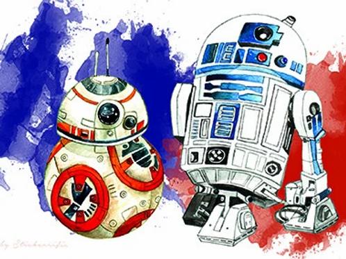 Stickerrific  | Postcard | Star Wars R2D2 and BB8