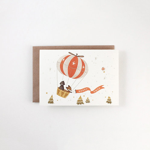 Whimsy Whimsical | Greeting Card | Merry X'mas | Hot Air Balloon
