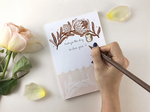 Whimsy Whimsical    Notepad   Today's the Day   Hedgehog & King Protea