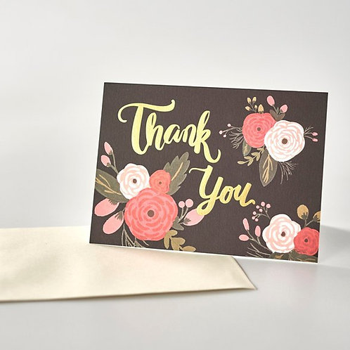 Paper Geek Co. | Greeting Card | Thank You | Black Floral