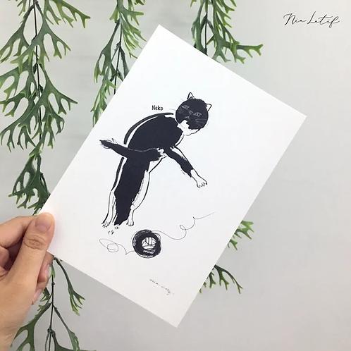 Nia Latif   A5 Art Print   Neko