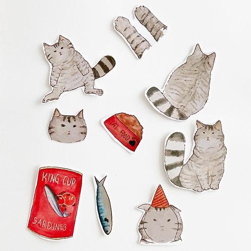 Art by Lee | Sticker | Cat with Sardine