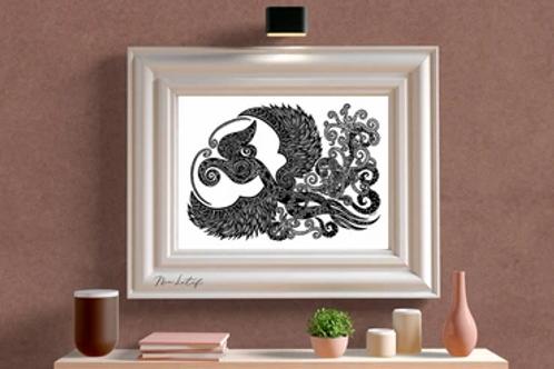 Nia Latif | Art Print | Dancing Hornbill