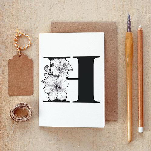 Salt x Paper | Greeting Card | The Alphabet Blossom Series | H
