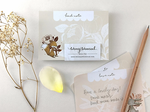 Whimsy Whimsical | Memo Pad | Fox & David Austin Rose