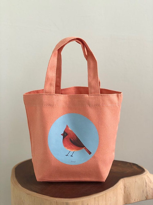 Heart Art | Mini Totebags | Orange Birdies