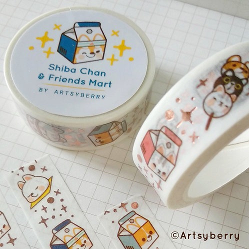 Artsyberry | Washi Tape | Shiba Chan & Friends Mart (Rose Gold)