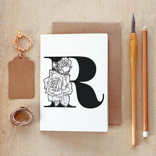 Salt x Paper | Greeting Card | The Alphabet Blossom Series | R