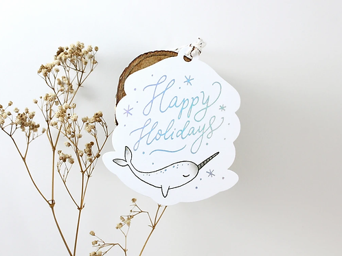 Whimsy Whimsical | Gift Tags | Happy Holidays | Narwhale