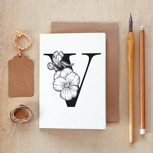 Salt x Paper | Greeting Card | The Alphabet Blossom Series | V
