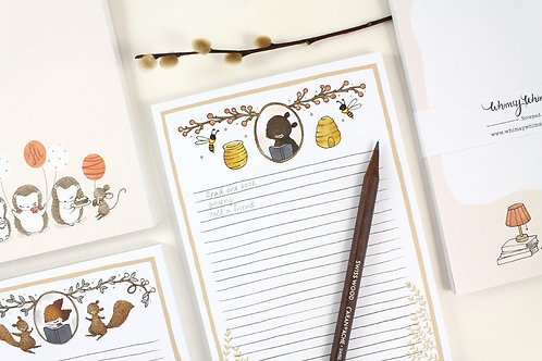 Whimsy Whimsical |  Notepad | Bear & Honey Bees
