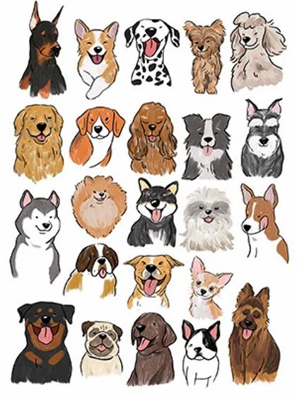 Stickerrific  | Postcard | Doggy Crew Postcard (Dog Faces)