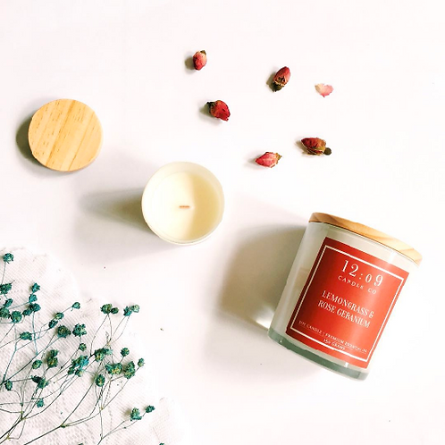 12:o9 Candle Co. | Scented Candle | Lemongrass & Rose Geranium