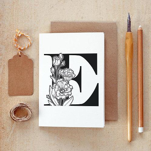 Salt x Paper | Greeting Card | The Alphabet Blossom Series | E