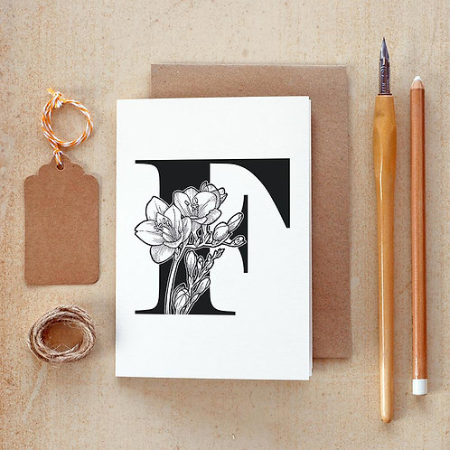 Salt x Paper | Greeting Card | The Alphabet Blossom Series | F