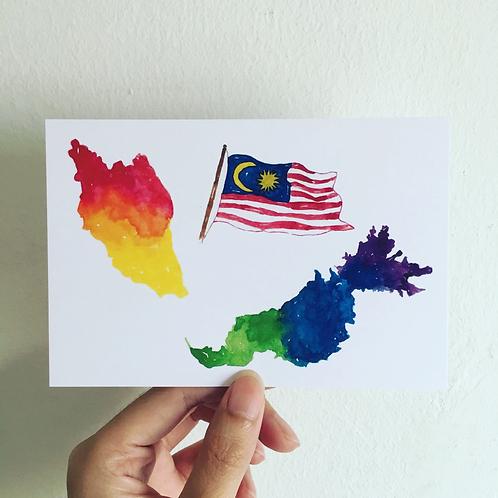 Fish Koou   Postcard   Colourful Malaysia Map