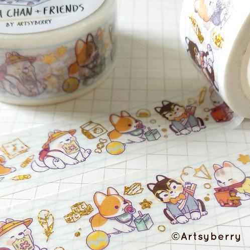Artsyberry | Washi Tape | Shiba Chan & Friends (Gold)
