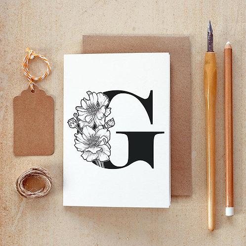 Salt x Paper | Greeting Card | The Alphabet Blossom Series | G