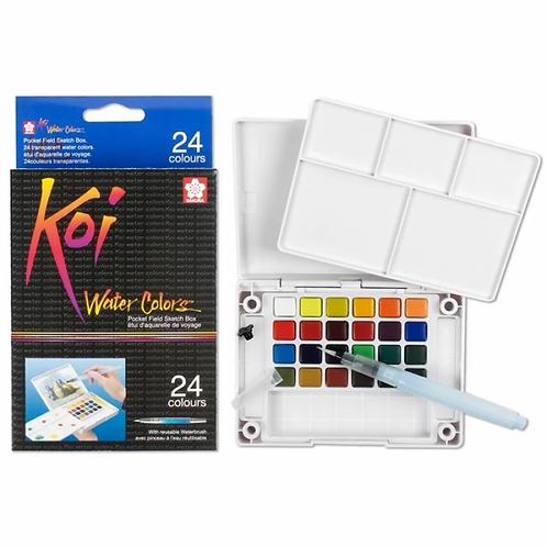 Sakura Koi   Watercolor Pocket Field Sketch Box   24 colors