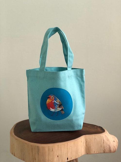 Heart Art | Mini Totebags | Aqua Birdies