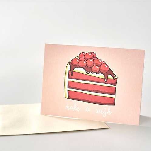 Paper Geek Co. | Greeting Card | Make A Wish | Red Velvet Cake Slice