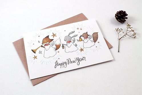 Whimsy Whimsical | Greeting Card | Happy New Year | Fox Rabbit Squirrel
