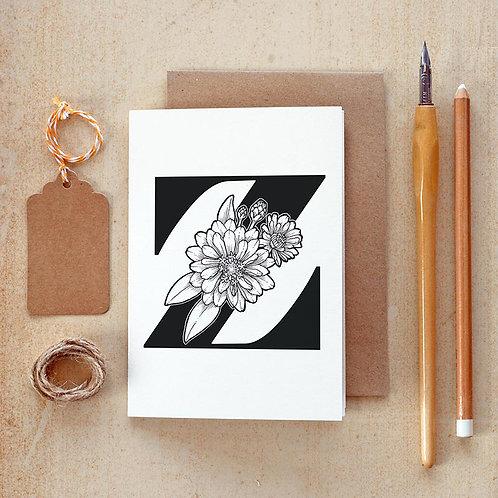 Salt x Paper | Greeting Card | The Alphabet Blossom Series | Z