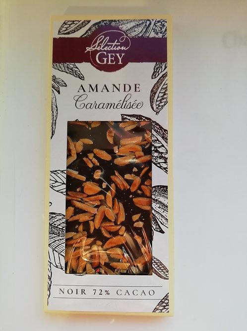 chocolat noir 72%  cacao aux  amande caramelisée 90g