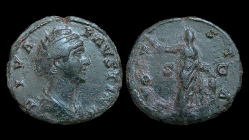 FAUSTINA I . AD 138-140 . AE As . Ceres, Goddess of Grain and Agriculture