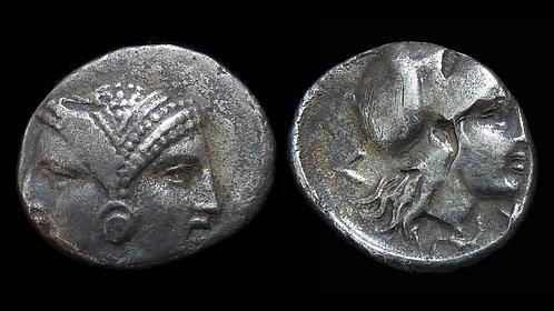 MYSIA, Lampsakos . Circa 350 BC . AR Diobol . Janiform heads / Athena