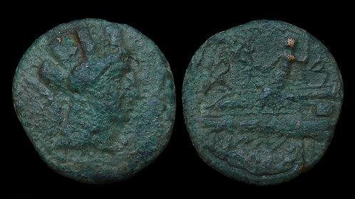 PHOENICIA, Arados . 116/5 BC . AE18 . Tyche / Poseidon on Prow