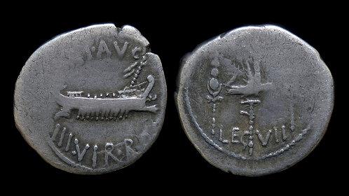 ROMAN IMPERATORS . Mark Antony, 32-31 BC . 'Legionary' Denarius . Legio VII