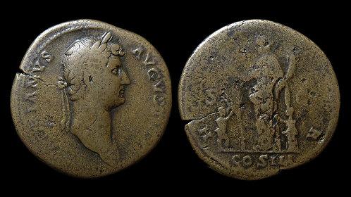"HADRIAN . AD 117-138 . Sestertius . ""Hilaritas, Goddess of Mirth"""
