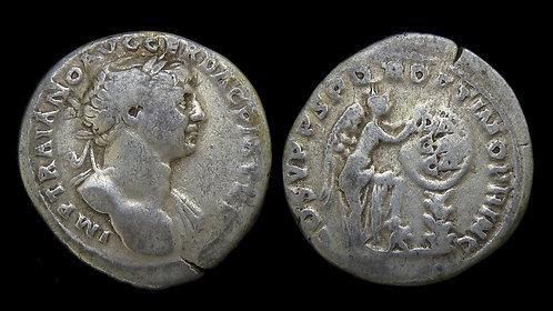 TRAJAN . AD 98-117 . AR Denarius . Commemorating Dacian War victory