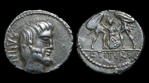 ROMAN REPUBLIC . L. Titurius L.f. Sabinus, 89 BC . Denarius . Death of Tarpeia