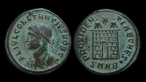 """CONSTANTIUS II, as Caesar . AD 324-337 . AE3 . """"Campgate"""" . Nicomedia"""