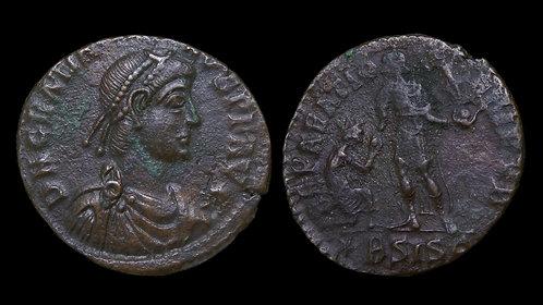 "GRATIAN . AD 367-383 . AE2 . ""REPARATIO REIPVB"" . Larger-szied LRB . Siscia"