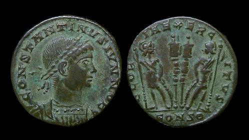 """CONSTANTINE II, as Caesar . AD 316-337 . AE3 . """"GLORIA EXERCITVS"""""""