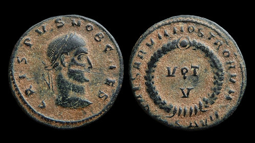 "CRISPUS, Caesar . AD 317-326 . AE3 . ""Vota in wreath"" . Thessalonica, R5"