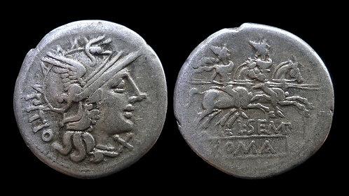 ROMAN REPUBLIC . L Sempronius Pito, 148 BC . Denarius . The Dioscuri