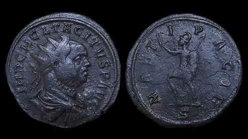 TACITUS . AD 275-276 . AE Antoninianus . 'Mars the Pacifier advancing'
