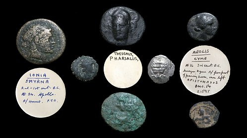 LOT of 7 GREEK  COINS . 1 Silver + 6 Bronze (incl. one ex BCD Collection)