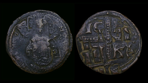 BYZANTINE EMPIRE . Anonymous Class C (Michael IV, AD 1034-1041) . AE Follis