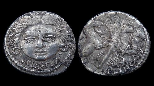 ROMAN REPUBLIC . L. Plautius Plancus, 47 BC . Denarius . Medusa / Victory
