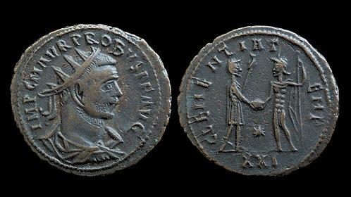 """PROBUS . AD 276-282 . Antoninianus . """"CLEMENTIA TEMP"""" . Tripolis mint"""