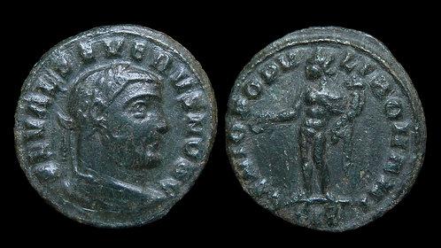"""SEVERUS II, as Caesar . AD 305-306 . 1/4 Follis . """"Genius standing"""" . Siscia"""